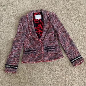 Rachel Roy Red And Black Tweed Blazer